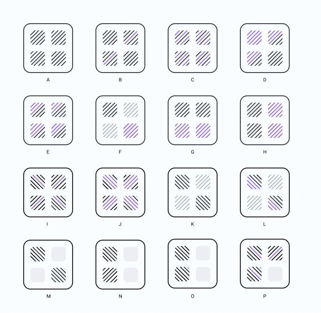 Diferentes versiones de una imagen aplicando principios de la Gestalt